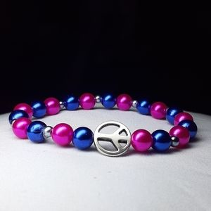 "Lrg 7"" hot pink and blue beaded stretch bracelet"